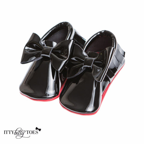 Red Bottom Moccs (Black Bow) - Itty Bitty Toes  - 3