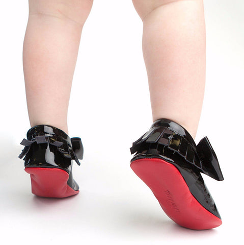 Red Bottom Moccs (Black Bow) - Itty Bitty Toes  - 5