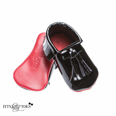 Red Bottom Moccs (Black Tassels) - Itty Bitty Toes  - 1