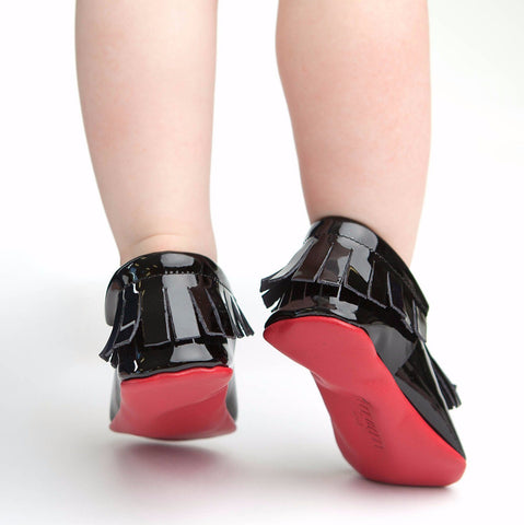Red Bottom Moccs (Black Tassels) - Itty Bitty Toes  - 3