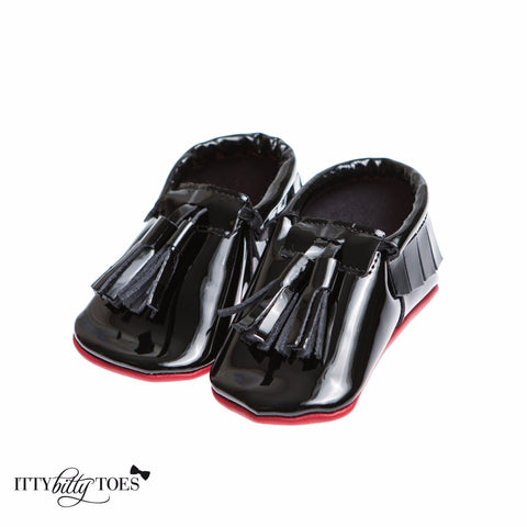 Red Bottom Moccs (Black Tassels) - Itty Bitty Toes  - 5