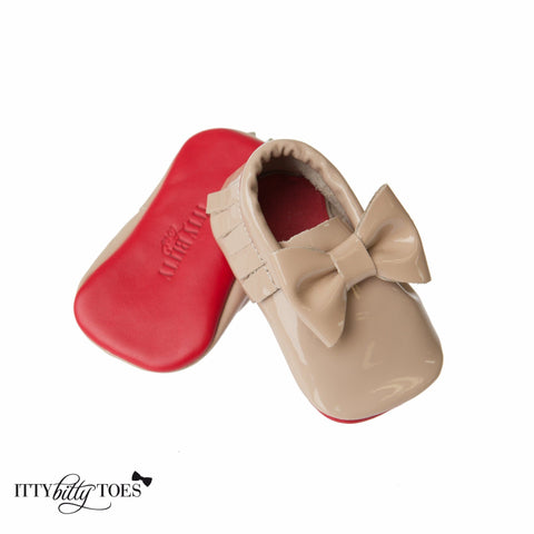 Red Bottom Moccs (Nude Bow) - Itty Bitty Toes  - 1