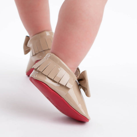 Red Bottom Moccs (Nude Bow) - Itty Bitty Toes  - 2