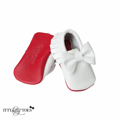 Red Bottom Moccs (White Bow) - Itty Bitty Toes  - 1