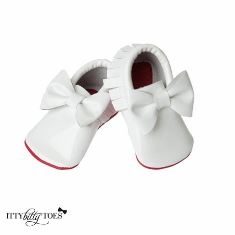 Red Bottom Moccs (White Bow) - Itty Bitty Toes  - 2