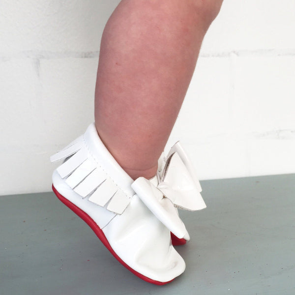 Moccasins White Bow Amp Red Bottoms Children S Boutique
