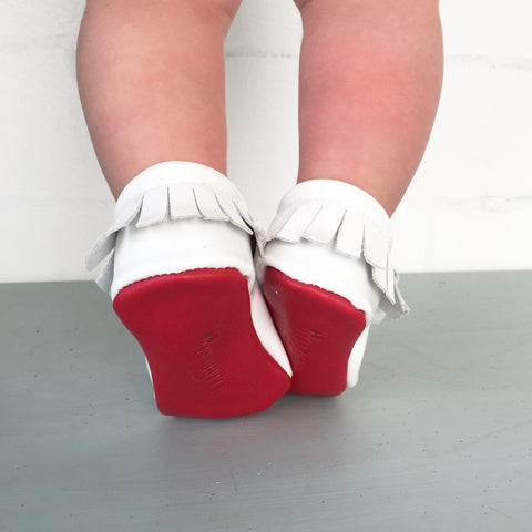 Red Bottom Moccs (White Bow) - Itty Bitty Toes  - 4