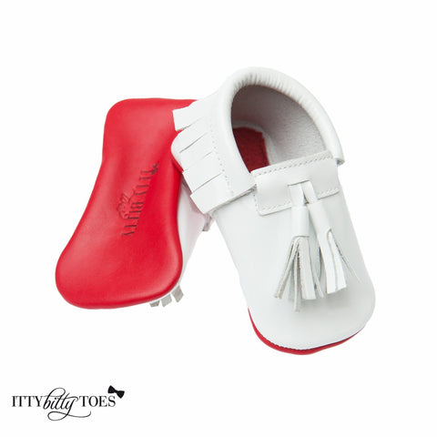 Red Bottom Moccs (White Tassels) - Itty Bitty Toes  - 1