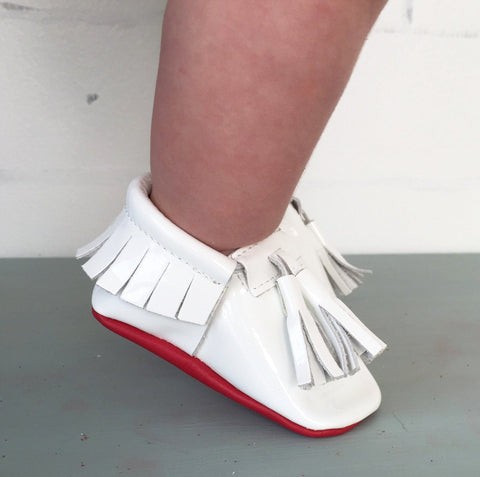 Red Bottom Moccs (White Tassels) - Itty Bitty Toes  - 2