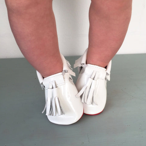 Red Bottom Moccs (White Tassels) - Itty Bitty Toes  - 3