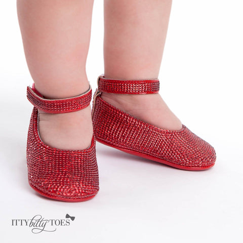 Red Sequin Ankle Strap Sandals - Itty Bitty Toes  - 1