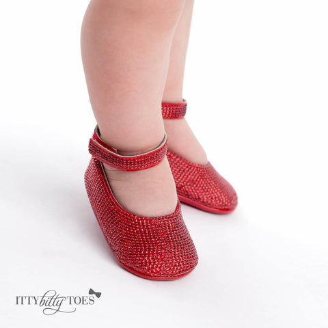 Red Sequin Ankle Strap Sandals - Itty Bitty Toes  - 5