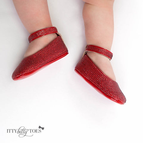 Red Sequin Ankle Strap Sandals - Itty Bitty Toes  - 6