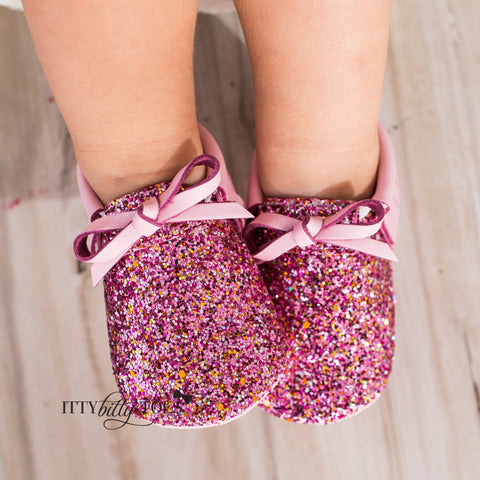 Sparkly Moccs (Pink) - Shoes - Itty Bitty Toes