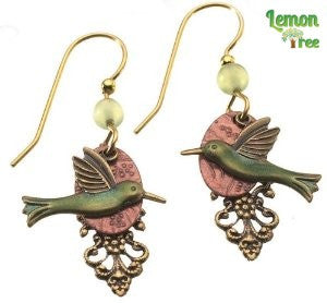Silver Forest Humming Bird Earrings