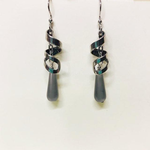 Light Olive Green Teardrop Dangle Earring