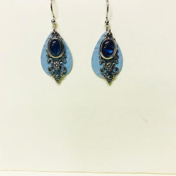 Light Blue w/ Bronze Filigree Dangle Earring
