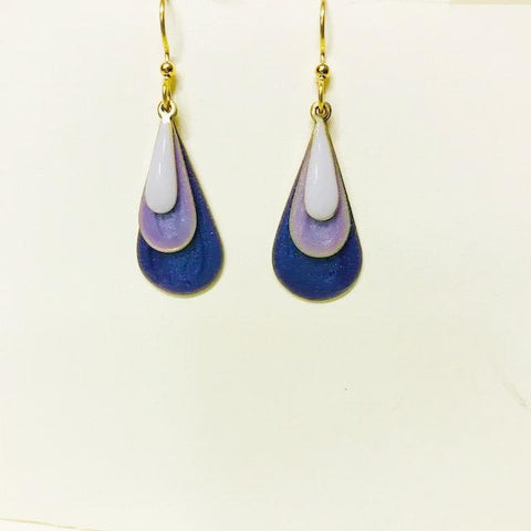 3 Tone Purple Dangle Teardrop Earring