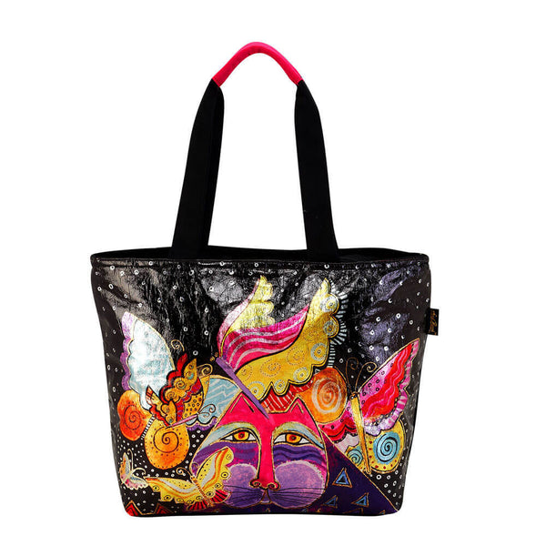 Laurel Burch Foil Flutterbyes and Cats Large Tote