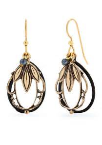 Black w/ Bronze Leaf Dangle Earring