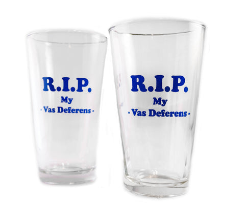 Customized vasectomy pint glasses