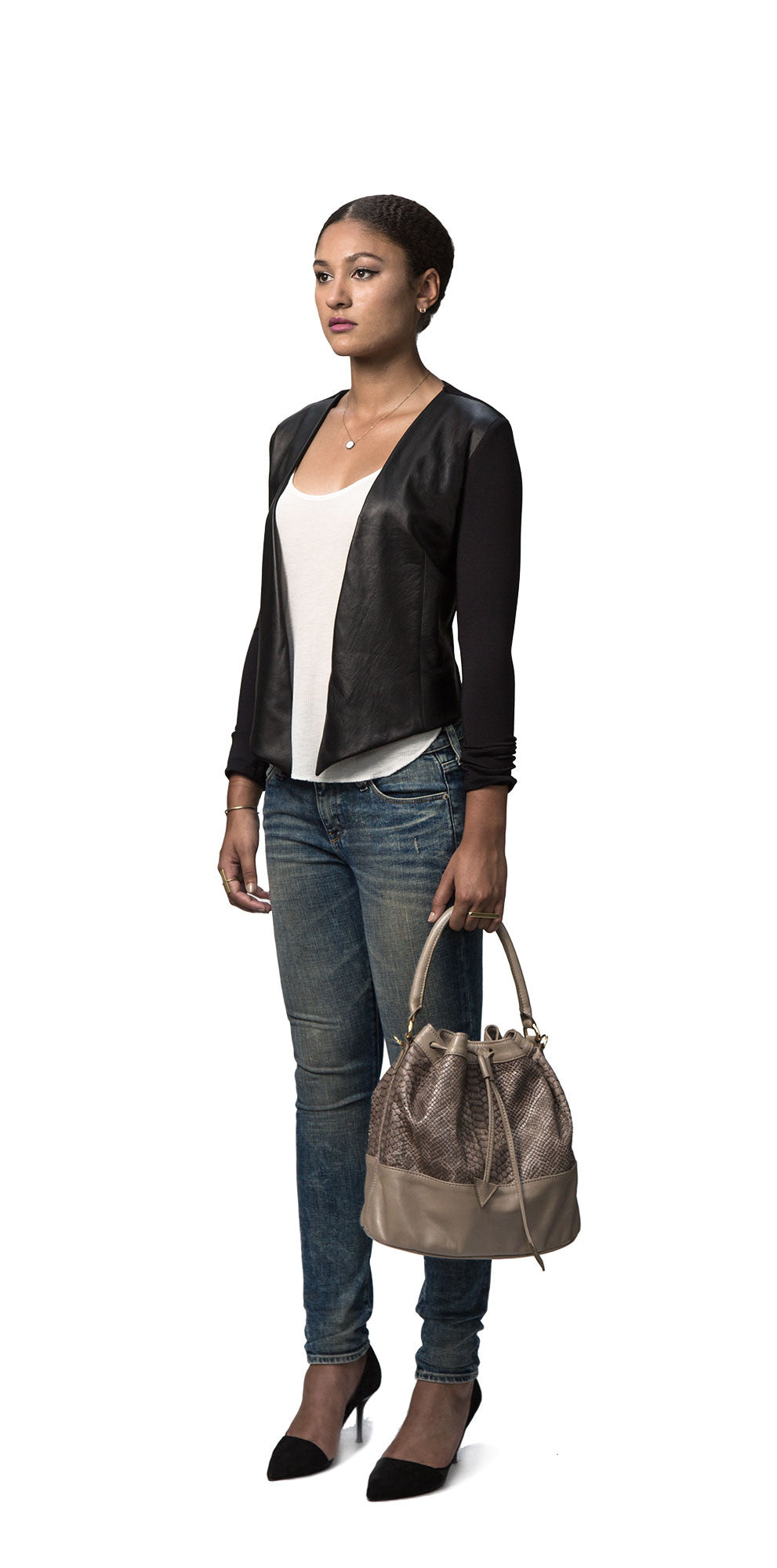 Stretch Leather Ponte Cardigan
