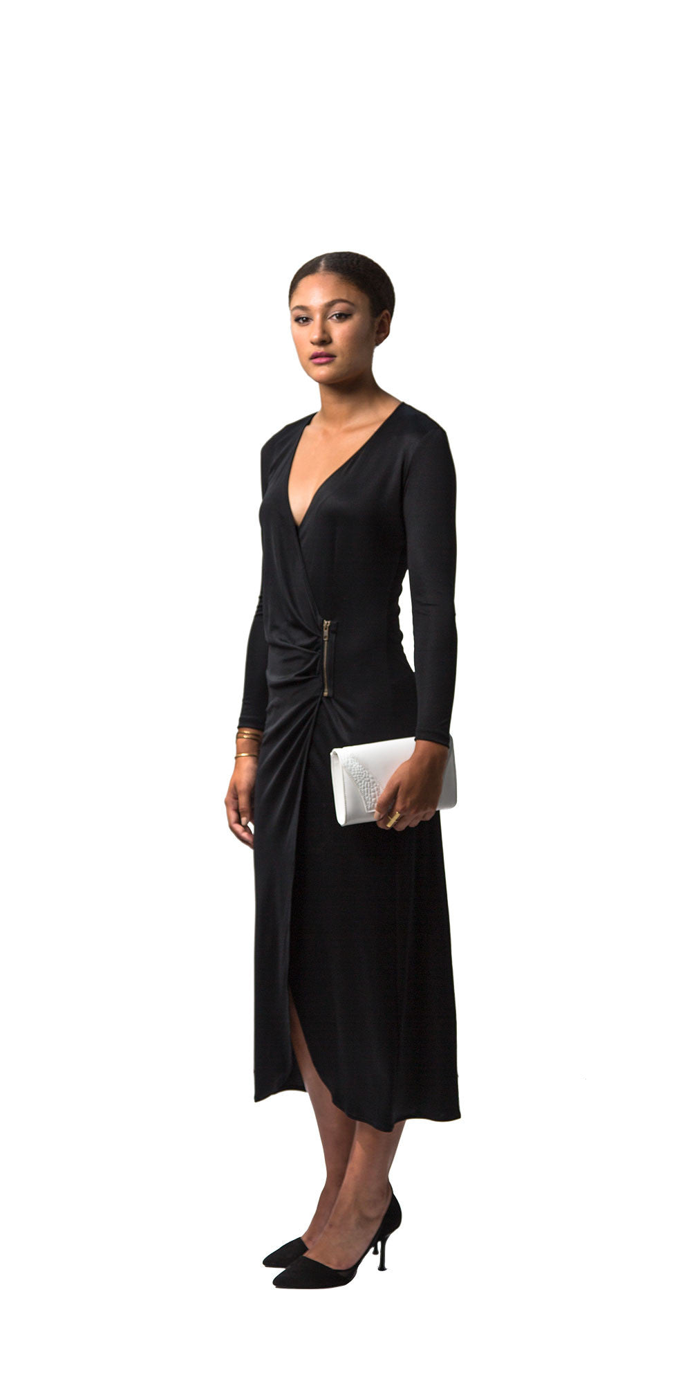Long Silk Zip Wrap Dress