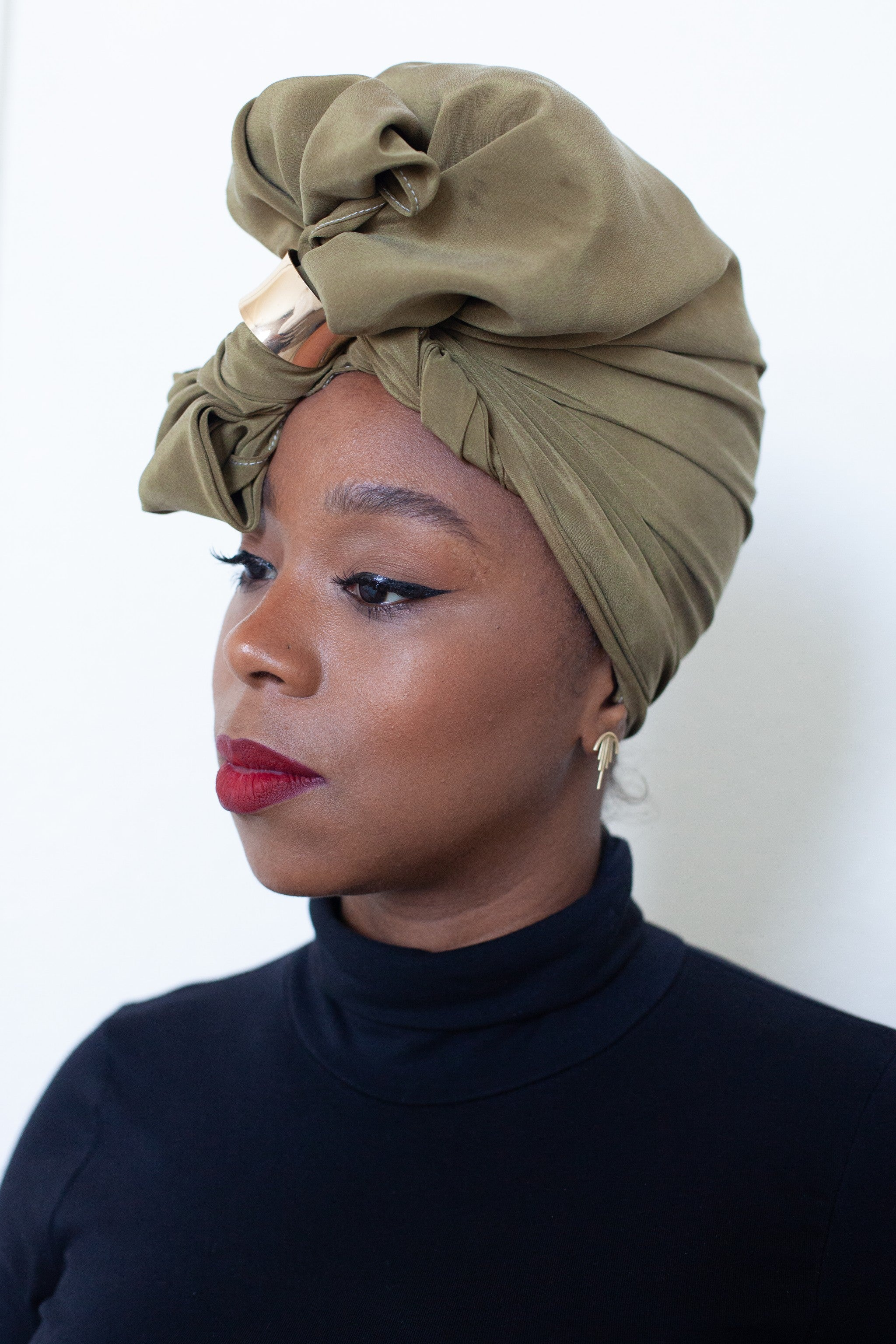 Olive Silk Head Wrap
