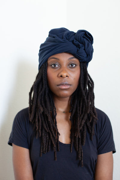 Navy Silk Twill Head Wrap