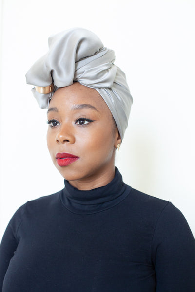 Light Grey Silk Head Wrap