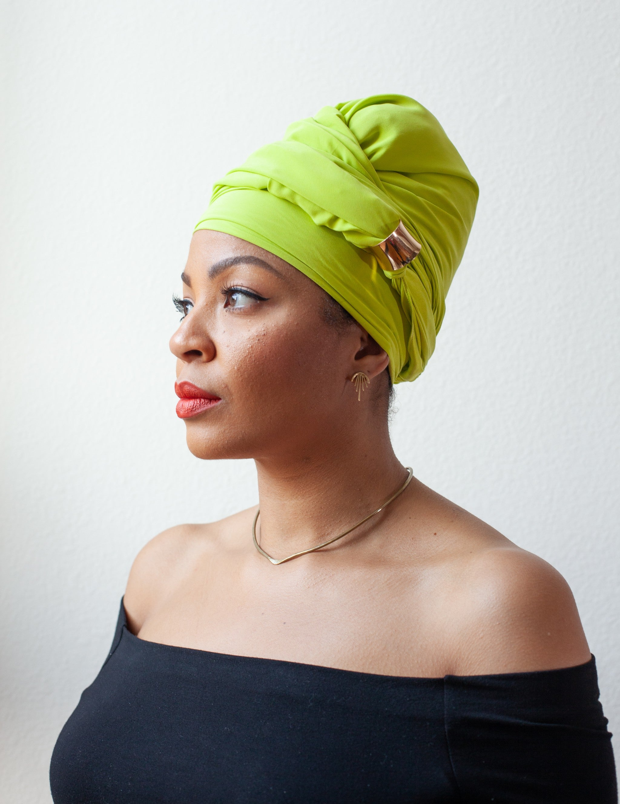 LIME GREEN SILK HEAD WRAP