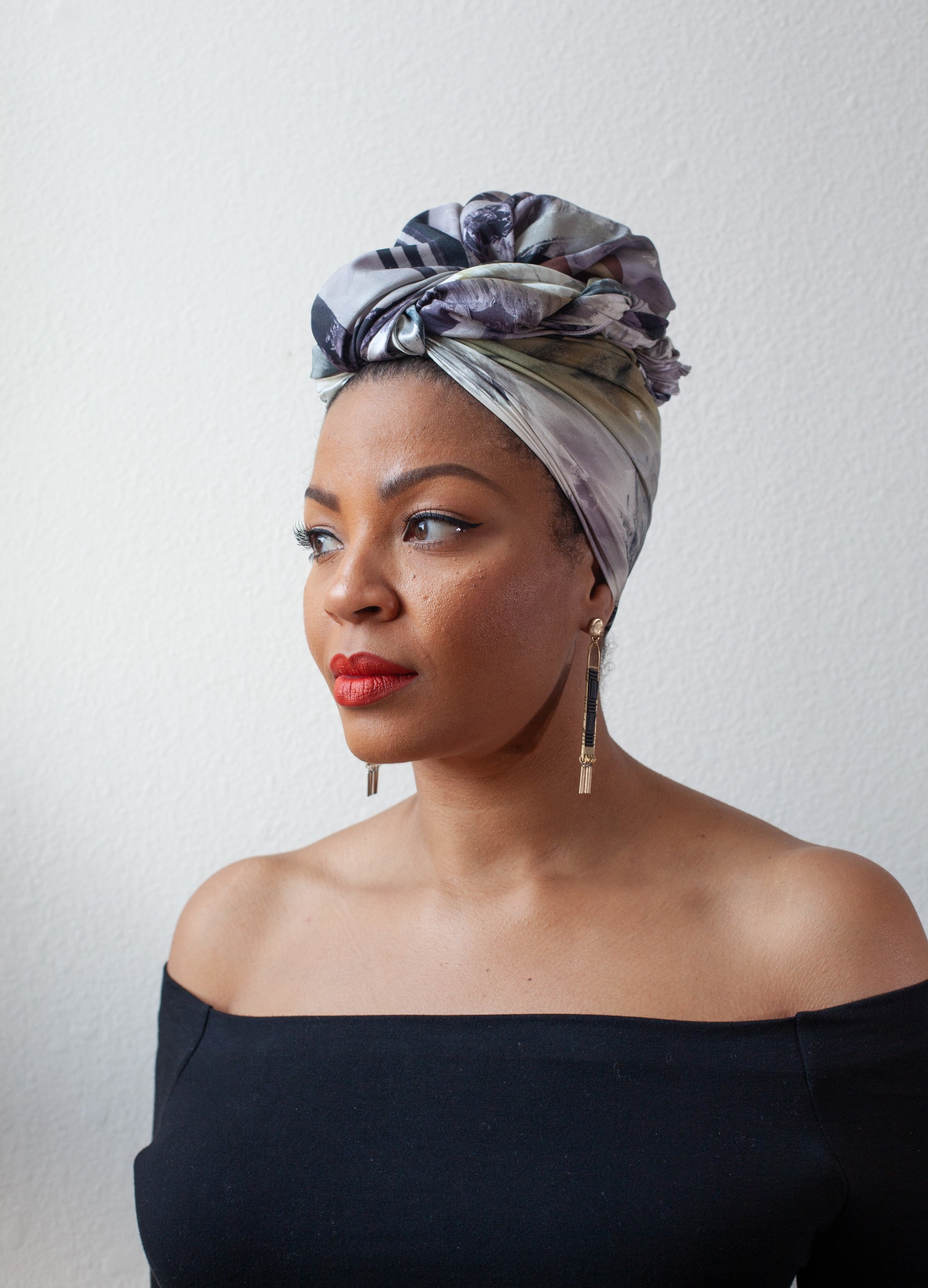 BRUSH STROKE PRINT SILK HEAD WRAP