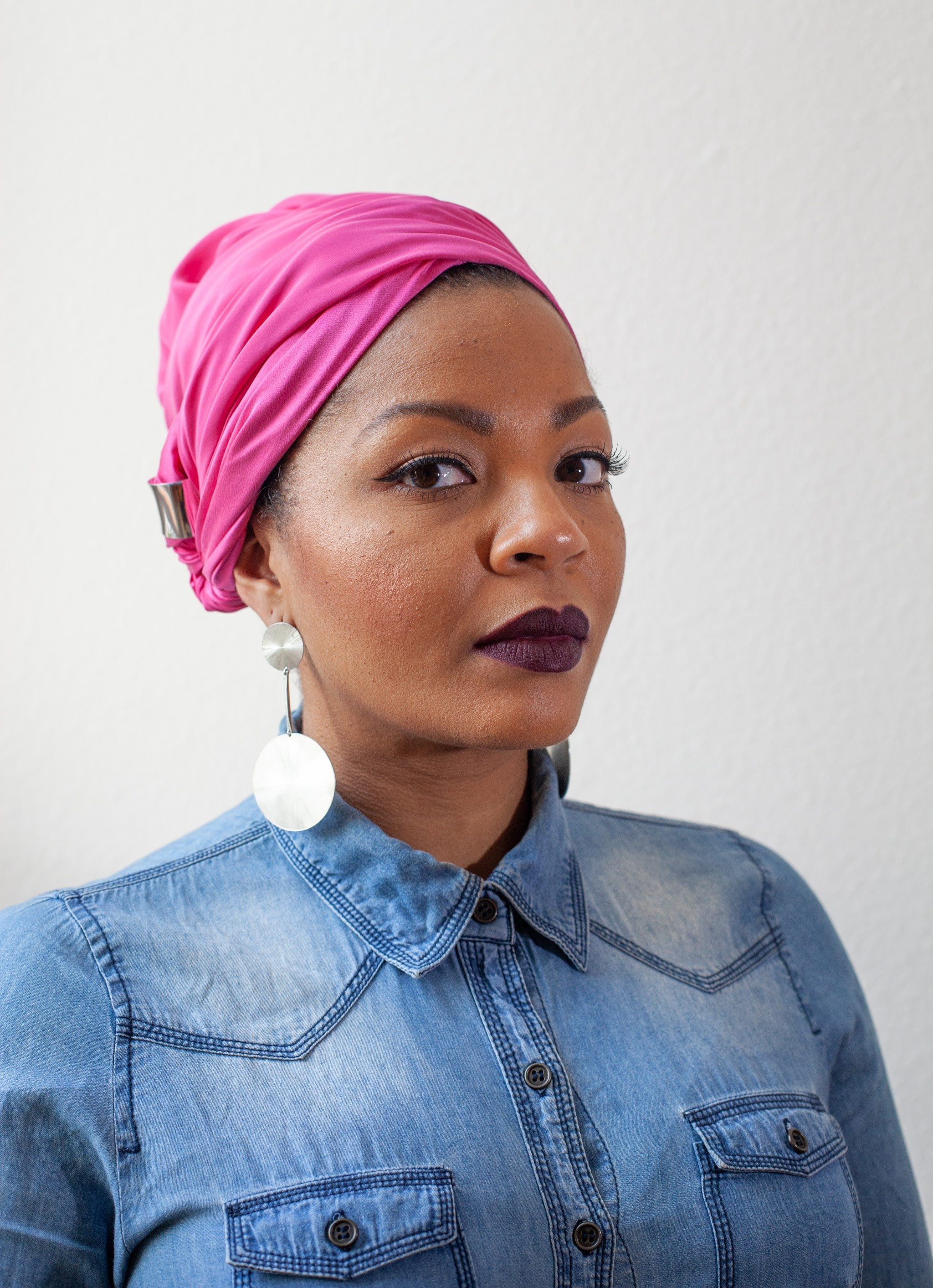 HOT PINK SILK HEAD WRAP