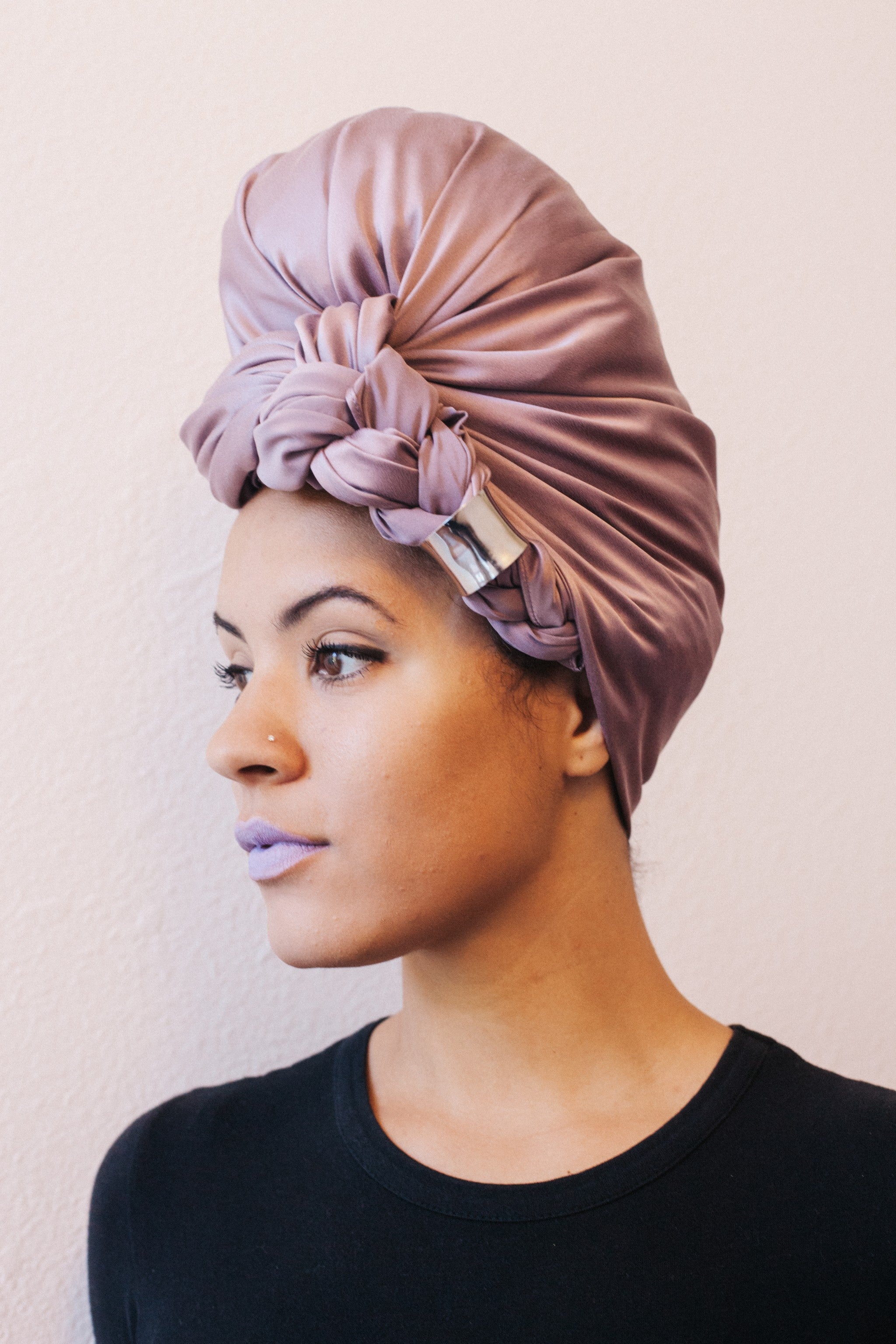 Mauve Silk Head Wrap