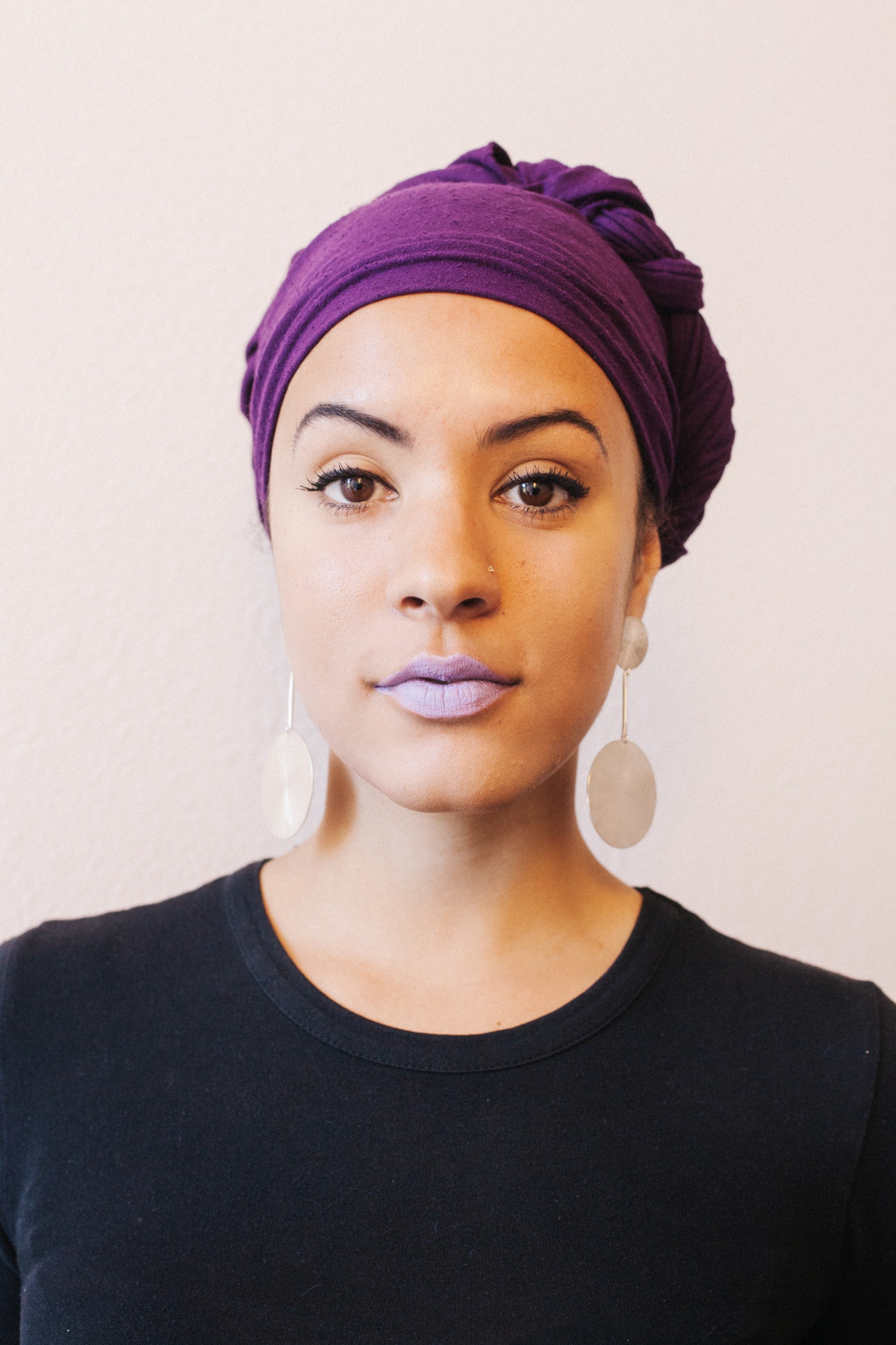 Eggplant Raw Silk Head Wrap