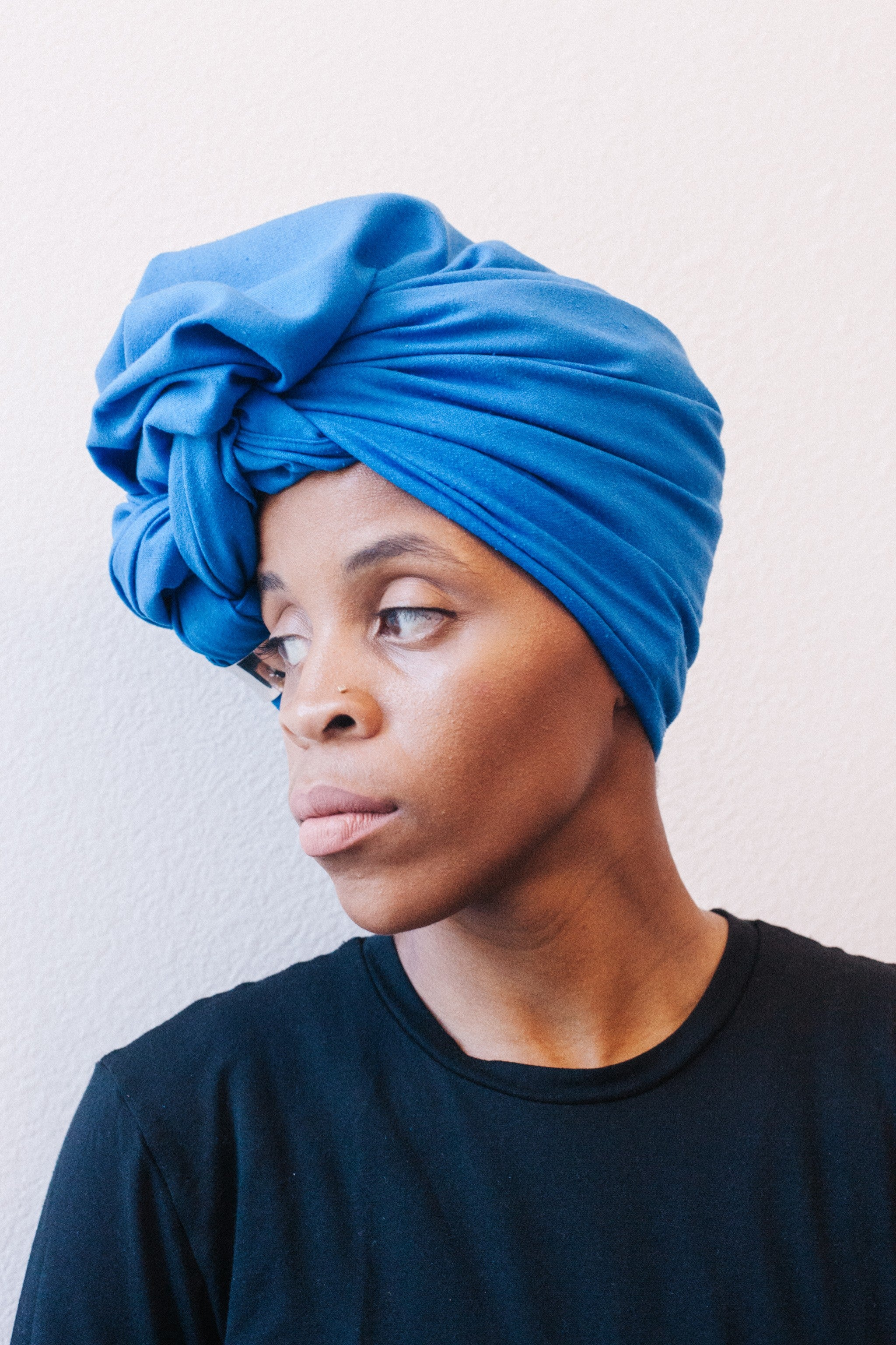 Royal Blue Raw Silk Head Wrap