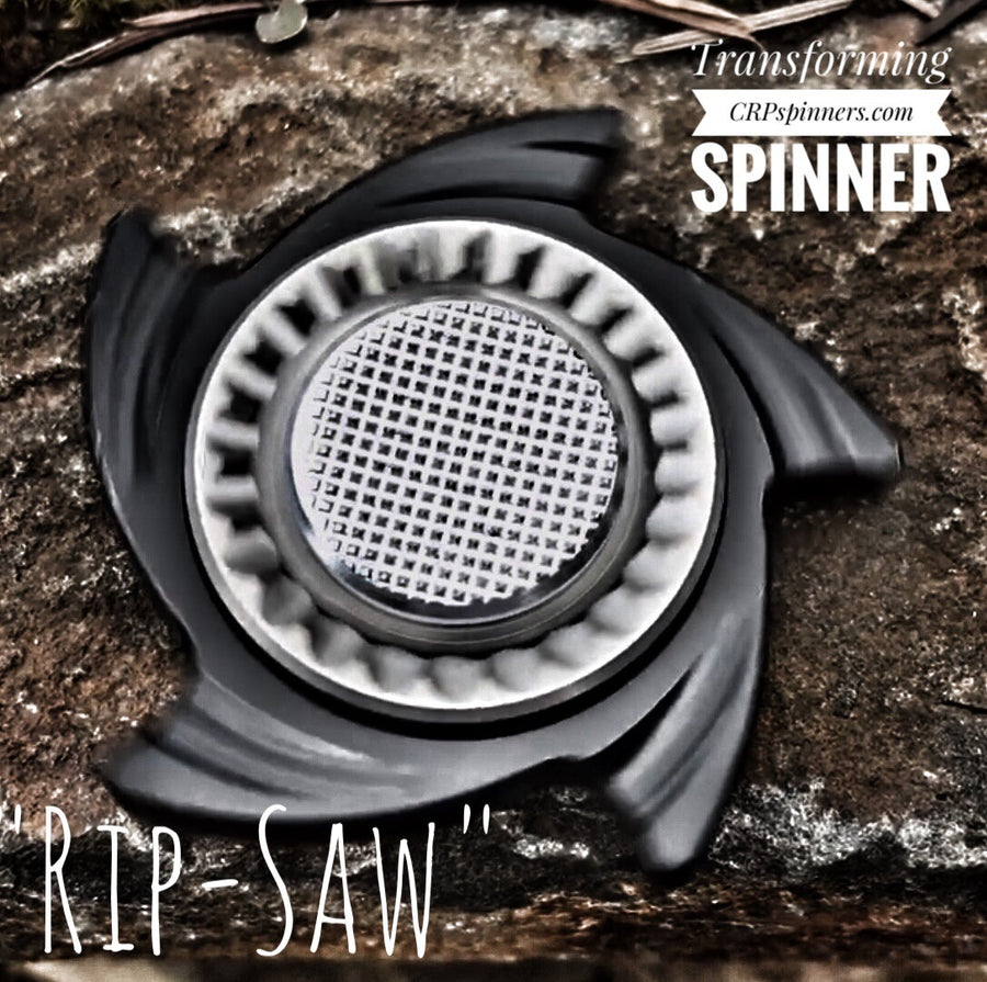 The Ripsaw – Black EDC Fidget Spinner with Stainless Steel Moxie and Machine Finish Heavy Hatch Button