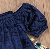 Baby Girl Velvet Top With Sunflower Bottoms (1T- 6T)