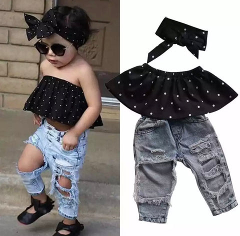 Baby Polka Dot & Distressed Denim Set (Pre Order)