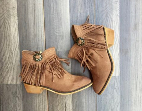 Concho Fringe Booties. Size 8.5