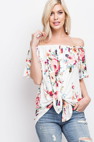 Off Shoulder White Floral Top