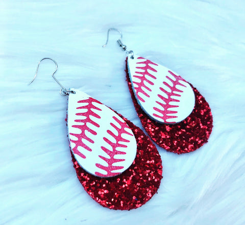 Glitter Leather Baseball Earrings