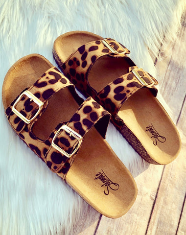 Leopard Double Strap Slip On Sandals