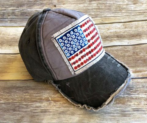 Floral American Flag Patch Cap