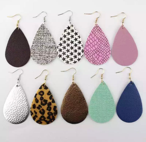 DEAL OF THE DAY!! Leather Teardrop Earrings. 10 Colors (Pre Order)