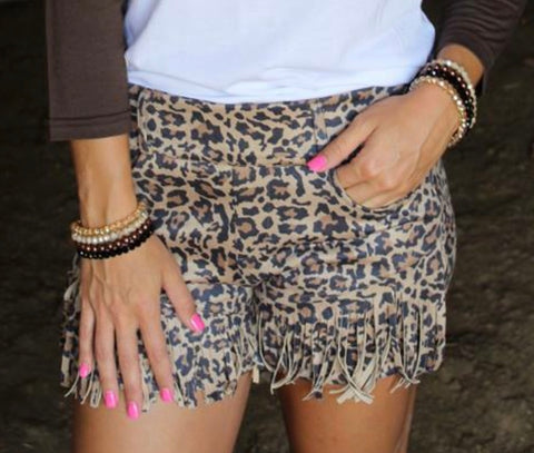Wild Thing Leopard Fringe Shorts