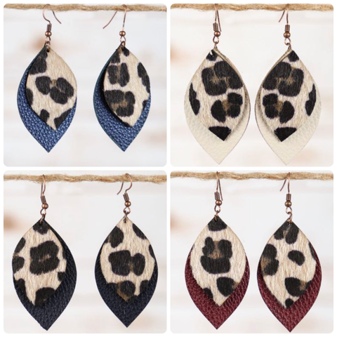 Leather Leopard Layered Earrings (4 Colors)