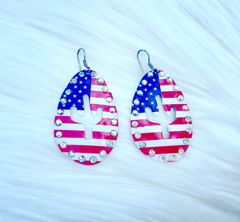 American Flag Cactus Cutout Earrings