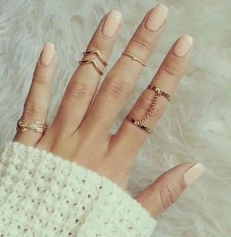 Gold Midi Ring Set