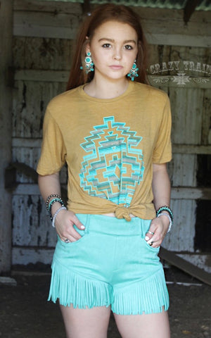 Any Fringe Of Mine Turquoise Shorts